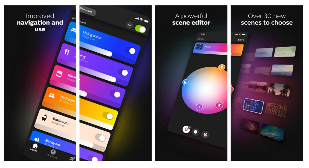 Imagen que ilustra la app de los dispositivos philips hue